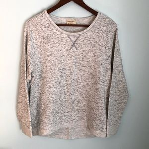 Heather Gray & White Long Sleeve Sweatshirt